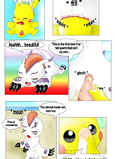english pics Pikachu and Gomamon, pikachu , gomamon , full color , furry